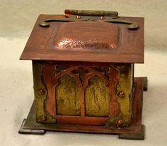 ANTIQUE COPPER & BRASS MISSION ARTS&CRAFTS HINGED BOX - STICKLEY ERA, DESK TABLE
