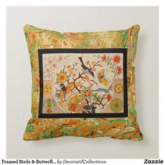 Framed Birds & Butterflies Throw Pillow