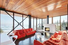 Grands Jardins Residence by Bourgeois / Lechasseur Architects with my favorite ligne rose sofas