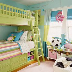 I love this bunk bed and the color of the bunk bead ~ instead of stripes I would use a peace sign comforter and splatter paint design..this would be great for our two 13 year old girls