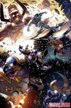 Thanos, Silver Surfer, Galactus, Adam Warlock