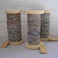 Recycled newspaper yarn to make rugs, etc....shut-up, I love this.