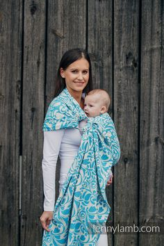 RINGSLING, JACQUARD WEAVE (100% COTTON) - WITH GATHERED SHOULDER - TWISTED LEAVES CREAM & TURQUOISE