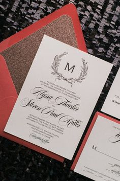 GISELLE Suite Glitter Package, red, black, jewel tone, indian weddings, wedding invitations with glitter