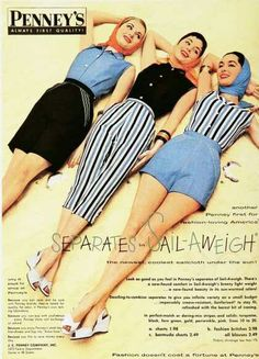 Late 50s early 60s pants style #1950s #1960s #capri #cigarette #shorts #culottes