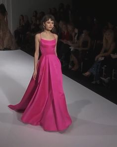 Pink Backless Slip and Slit A-Lain Maxi Prom Dress / Gown with Open Back, Spaghetti Straps, and small Train. Runway Show by Sherri Hill. Hot Pink Dresses, Pink Gowns, Hoco Dresses, Summer Fashion Outfits, Pink Outfits, Fashion Dresses, Prom Dress Couture, Slit Dress, Sherri Hill