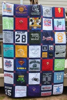T-Shirt Quilt ~ What can you really do with all those sports jersies, pj's etc etc that are filling your house. Well, why not make them all into a quilt to give to your son or daughter to take to college with them.