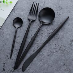 """Spain Set - We take """"dining in style"""" to the next level! Our cutlery exhibits a blend of modern hues and industrial design. Effortlessly transform your eating experience with this four piece set."""