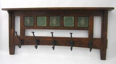 Arts & Crafts Style Coat Rack with 5 hooks & 5 tiles (Sold separately)