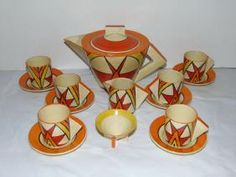Lot: Shelley Tea Set . Early 20th Century Art Deco., Lot Number: 0031, Starting Bid: $10, Auctioneer: Philip Weiss Auctions, Auction: Estate Sale, Paintings, Bronzes, Jewelry, Etc, Date: January 29th, 2017 BRST
