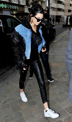 On Kendall Jenner: Balenciaga 67 mm Sunglasses ($340); Unravel jacket; The Perfext Brittany Leggings ($995); Adidas Stan Smith Sneakers ($75).