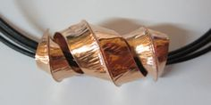 Handmade copper fold formed necklace