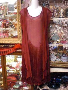 Burgandy Flapper Dress 1920s With Fringe by MossyRoseCB on Etsy, $265.00