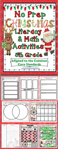 Christmas ELA and Math Activities (No Prep) 5th Grade: 'Twas two weeks before Christmas and all through the schools the teachers were pulling their hair out trying to get students to follow the rules! Relax, your plans can be done! The activities require no prep, are super fun, and aligned to the Common Core Standards! Available for 3rd - 5th grades! $