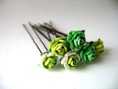 Green Ballet Bun Flower Accessories For Children's Ballet Dance Classes and Performances Set of Six Multi-Tonal Green Rose Flower Bobby Pins