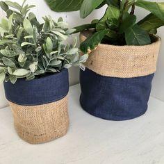 Indigo Blue Denim Hessian Planter Bag Source by Hessian Fabric, Hessian Bags, Burlap, House Plants Decor, Plant Decor, Plant Bags, Idee Diy, Potted Plants, Flower Pots
