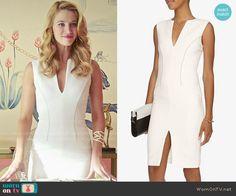 Petra's white split neck dress on Jane the Virgin.  Outfit Details: http://wornontv.net/53311/ #JanetheVirgin