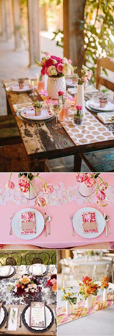 Caminos de mesa originales con patrones florales para la decoración de bodas