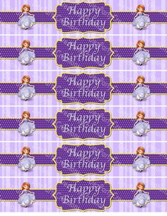 Sofia The First Water Bottle Labels  Print at by DezPartyCreations, $2.00