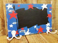American Flag Chalkboard Dog Leash Holder Key by Love4PawsCafe