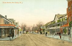Red Bank NJ Front Street View Trolley Store Fronts Globe Hotel Postcard Print