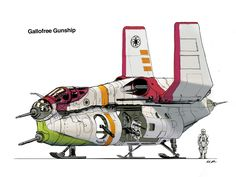 """GAR Gallofree Gunship. Gallofree Gunship If Correlian design was premium, Gallofree was the poor man's shipyard. An ideal supplier of budget transports for a state with little regard for troops' lives. The """"Republic Gunship"""" is a staple of 2002-onward star wars media, but boy it is stupid looking, and not in a functional, utilitarian way. I tried to keep it ugly, but brought everything closer together, eliminated the wild armaments, and generally channeled starships from the original…"""