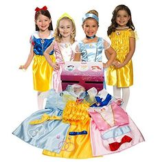 Disney Princess Play Fun Dress Up Trunk 21 Piece Set Christmas Gift Girl Toys. Dress-Up Trunk includes four classic Disney Princess characters, Aurora, Belle, Cinderella and snow white outfits with matching royal accessories. Gifts For 3 Year Old Girls, 4 Year Old Girl, Toys For Girls, Girl Toys, Kids Girls, Snow White Outfits, Disney Princess Dress Up, Disney Princess Characters, Princess Dresses