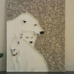 Polar bears string art by String Art Baku