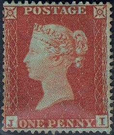 Stamp: Penny Red (Queen Victoria) (United Kingdom of Great Britain & Northern Ireland) (Queen Victoria - Line Engraved) Mi:GB 10 Uk Stamps, Rare Stamps, Vintage Stamps, Monuments, Stamp Values, Stamp Catalogue, Kingdom Of Great Britain, Wall Maps, Red Queen