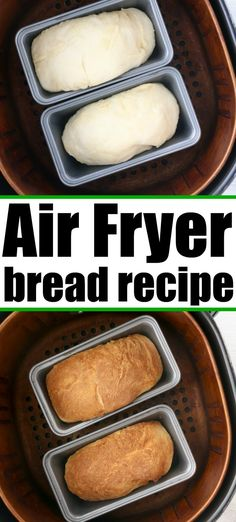 Homemade Air fryer bread is easy to make with just 6 ingredients and very little kneading required. Perfectly fluffy white bread done in no time. Air Fryer Dinner Recipes, Air Fryer Oven Recipes, Air Frier Recipes, Air Fryer Cake Recipes, Recipes With Yeast, Easy Bread Recipes, Cooking Recipes, Cornbread Recipes, Jiffy Cornbread