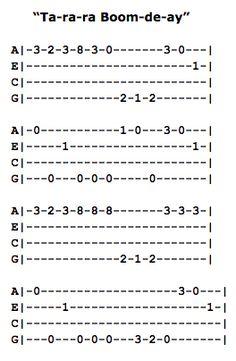 Ta-ra-ra Boom-de-ay Ukulele Fingerpicking Pattern Ukulele Tabs Songs, Ukulele Fingerpicking Songs, Guitar Strumming, Ukulele Art, Cool Ukulele, Uke Tabs, Guitar Songs, Drops Of Jupiter, Guitar Tabs For Beginners