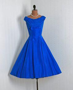 1950's Chiffon & Taffeta Party Dress ~ Beautiful Blue