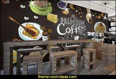 blackboard wallpaper mural kitchen bistro cafe style