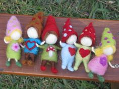 Needle felted children Christmas ornament waldorf by Kids Christmas, Christmas Decorations To Make, Christmas Crafts, Christmas Ornaments, Waldorf Crafts, Needle Felting Tutorials, Felt Fairy, Tiny Dolls, Wet Felting