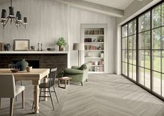 Porcelain floor tiles, wall tiles for interior design and architecture by Ceramiche Caesar Wood Effect Porcelain Tiles, Porcelain Floor, Tactile Paving, Chevron Tile, Italian Tiles, Wood Mosaic, Outdoor Flooring, Wall Tiles, Dining Bench