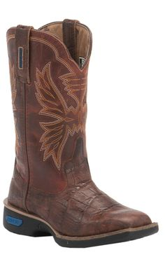 Cinch Youth Brown Embossed Gator with Dark Crystal Red Top Square Toe Western Boots