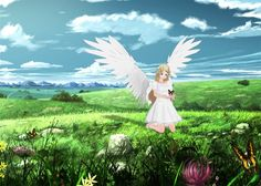 Anime Angel Girl with Butterflies  |  anime, angel, girl, butterflies, nature, flowers, trees, landscape, scenery, cute, pretty, beautiful, calm, smlie, peace, clouds, field, wings, 3dcg, 3dart, digital, art, joy, angelic, colors, blonde