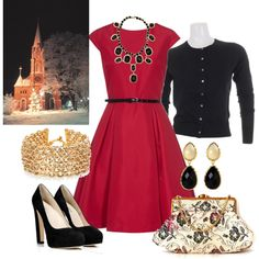 """Church Christmas outfit #2"" by elizabethdawes on Polyvore cept Silver instead of Gold"