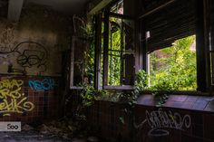 Inside one of the buildings at the abandoned mine at Cheratte, Belgium.