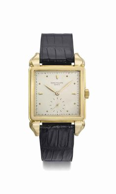 Patek Philippe. A fine and unusual 18K gold square wristwatch with fancy lugs and original certificate, manufactured in 1950 #ChristiesWatches