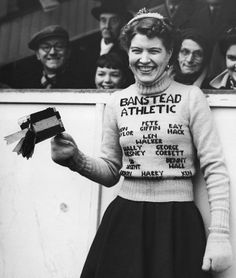 Banstead Athletic Football Club - lady with woolly jumper Vintage Opulence, Wooly Jumper, British Football, Queens Park Rangers, Leeds United, Athlete, Vintage Fashion, Club, Lady
