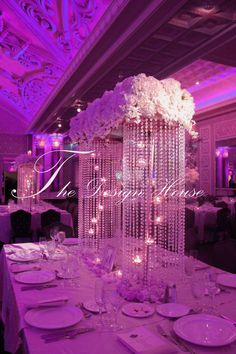 crystal and tealight centerpiece