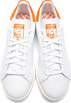 Raf Simons X Sterling Ruby: White & Orange Stan Smith Adidas Edition Sneakers