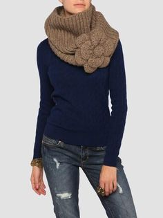 Cowl Neck Warmer w/Flower: Sweet Inspiration for crochet or knit!