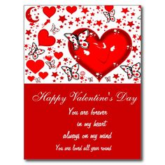 Love,Forever & Always_ Valentine's-Day Greeting Card with red hearts,butterflies,stars,moon and smiles. Low prices on cards, Cards comes in different sizes. by Elenne Boothe http://www.zazzle.com/love_forever_always-239234055224407870