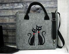 CAT BAG Women Felt Bag Two Black Cats Felt Tote Bag