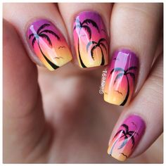 Today I did these super simple summer nails-sunset ombre and hand drawn palm trees☀️ Top coat is by @essence_cosmetics Sealing Top Coat❤️ I'm back from the sea side I had an amazing time!!❤️ Now back to reality for a while☺️