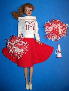 Vintage Dressed Titian Ponytail Barbie Doll 1962 in Cheerleader #876