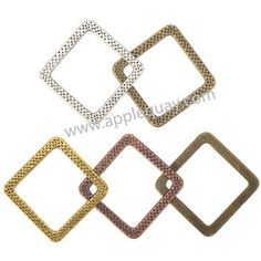 Zinc Alloy Square Ring Beads,Plated,Cadmium And Lead Free,Various Color For Choice,Approx 32*32*2mm,Hole:Approx 24.5mm,Sold By Bags,No 002137