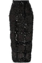 Roksanda - Lawton embellished organza and ponte midi skirt Black Sequin Skirt, Black Midi Skirt, Black Sequins, Skirt Midi, Embellished Skirt, Calf Length Skirts, Fall Skirts, Roksanda, Knit Skirt